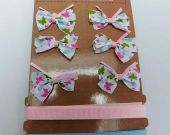 set of 6 bows 2 satin ribbon with pink blue butterfly white and green
