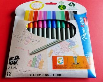 12 markers Reynolds felt tip pens, fine and durable matte paper, ink wash drawing cards