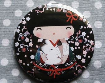 Kokeshi 'Black' spirit Asian floral magnet