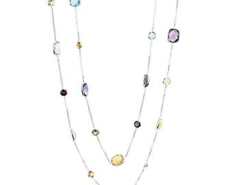 14K White Gold Station Necklace With Cushion Cut And Round Gemstones By The Yard 36 Inch