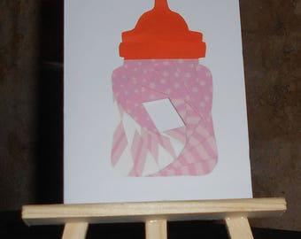 "Card ""Congratulations"" baby bottle pink iris folding"