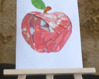 Red Apple in iris folding card