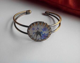 Vintage bracelet - cabochon 'black cat - purple flower'