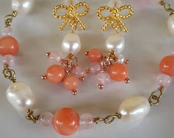gemstone earrings and bracelet pink coral and Rose Quartz