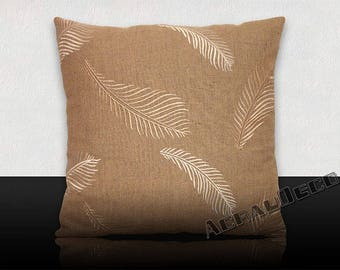 Square cushion 6 feathers embroidered white mother of Pearl / taupe Pearl on taupe background