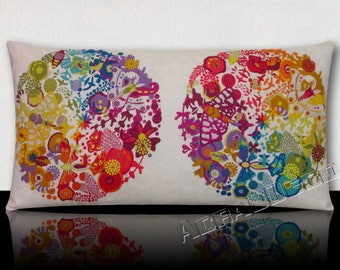 """Cushion """"XL"""" rectangular design-pattern leaves/Butterfly/flowers/turquoise/green/orange/purple on ivory background"""