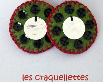 the craquellettes: felt, colorful and sparkling Earrings!
