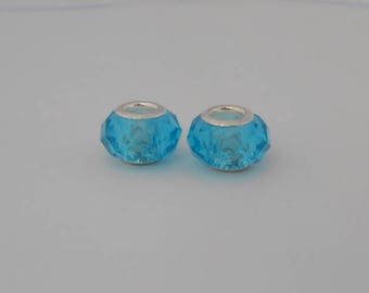 Bracelet Charms 14x9mm faceted glass beads