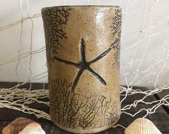 Coastal Ceramic Wine Chiller/Utensil Holder