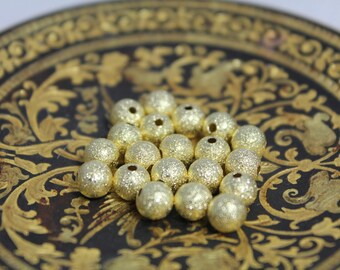 ☆ 20 brass Stardust beads / Gold/6 mm☆