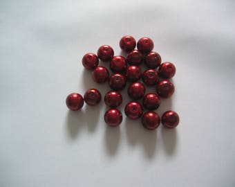 Set of 10 red copper pearl beads 8mm diameter