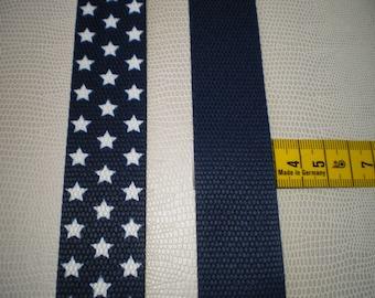 30 mm polypropylene webbing Navy white stars