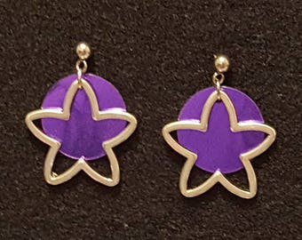 Open Star with Shiny Purple Circle Post Style Earrings