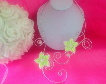 Fancy silver satin white and neon yellow flower necklace
