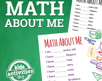 Math About Me Printable Worksheet