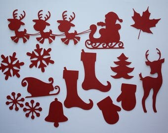 Set of 14 dies cut Christmas - for scrapbooking and cardmaking embellishments