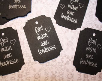 """Set of 10 """"handmade with love"""" paper card stock black and silver writing"""