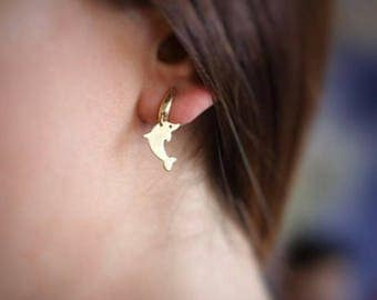 14K Gold Dolphin Earring/Hand-made Gold Dolphin Earrings / Gold Earrings Available in 14k Gold, White Gold or Rose Gold
