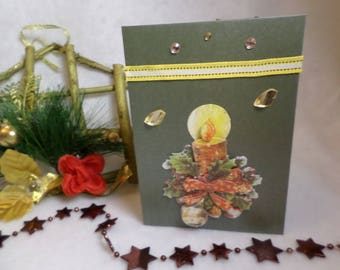 Greeting card, Christmas card, candle