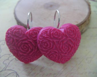 Pink Fuchsia 925 Sterling Silver Heart Earrings