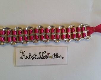 Bobbin and Satin Pink Ribbon bottle cap bracelet