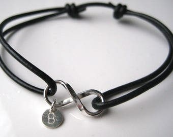 Leather bracelet and sterling silver infinity personalized N3271
