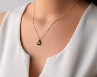 Crystal Gold Necklace,Dainty Necklace,Layered Necklace,Green Zircon Necklace, Pendant Gold Necklace, Delicate  Necklace,Dainty Gold Necklace