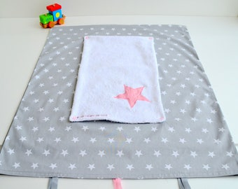 Mattress cover changing towel hand made grey stars pink @lacouturebytitia