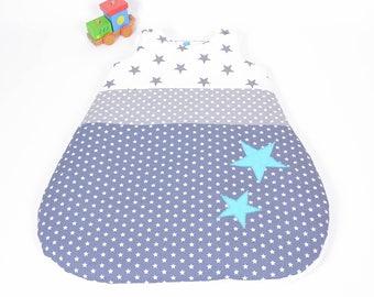 Sleep sleeping bag 0-6 months hand-made gray polka dot, white and turquoise stars @lacouturebytitia