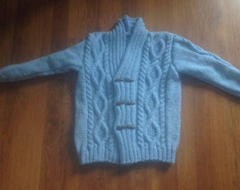 boy with hand knitted Cable Cardigan