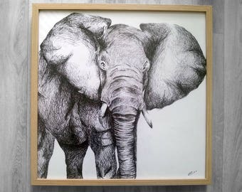 """Drawing """"Elephant"""" Rotring (Indian ink pencil)"""