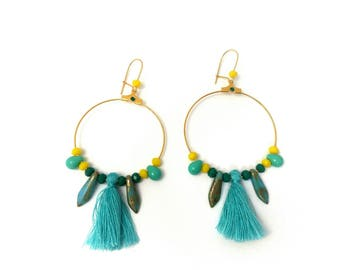 Earrings Creole chic gypsy turquoise tassel and Gold version