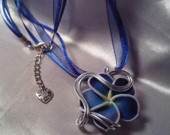 Silvered Metal blue plumeria Flower necklace