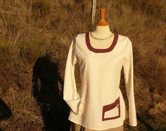 Tunic Cotton satin bio - Pocket Burgundy hemp.