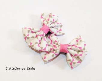 Hair clip double bow on the bias with white cotton printed pink & taupe X 2