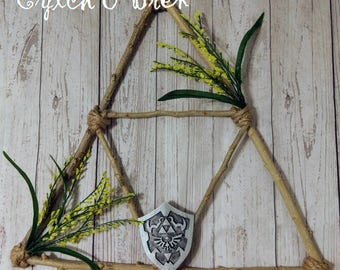 Triforce Inspired Wreath - Home Gifts - Door Decor - Rustic Decor - Natural Wood Decor - Front Door Decor - Geek Home Decor - Gamer Decor