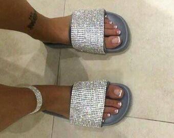 Crystal Diamond Slipper Sliders