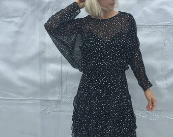 Vintage 80s Sheer Dolman Sleeved Polka Dot Wiggle Dress