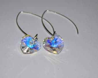 earrings and heart crystal AB 14 mm