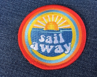Sail Away Patch.  Patches for Backpacks, Patches for Jeans, Sailing, Beach, Ocean, Boating, Sea, Sun