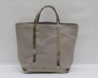 The bag in 100% linen khaki beige with dark khaki beige sequins