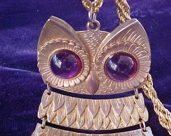 Way Cool Golden Owl Necklace with Purple Eyes 1970's