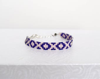 Bright purple and pink woven bracelet