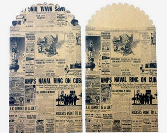 Mini kraft 13 x 7 cm pattern pouch: newspaper, Vintage.