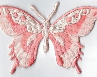 Pink butterfly embroidered iron or sew patch. Applique Patch 7.5 x 5.5 cm
