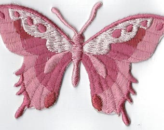 Vintage pink butterfly embroidered iron or sew patch. Applique Patch 7.5 x 5.5 cm