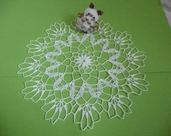 Handmade white cotton lace doily