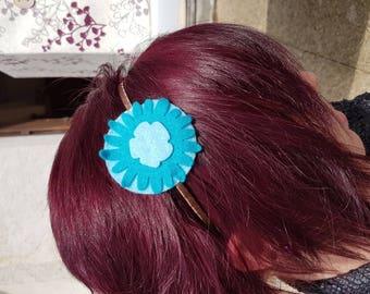 Blue flower felt headband