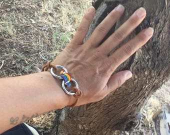 Bracelet ring multicolor leather women free shipping in France