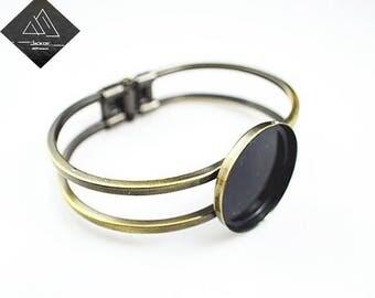 10pcs 25mm Princess Cuff Bracelet Blanks, Antique Bronze/Gold/Rose Gold/Copper/Silver plated Bracelet base,Bezel Cabochon Setting